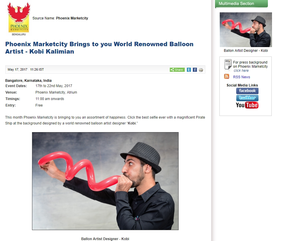Phoenix Marketcity Brings to you World Renowned Balloon Artist – Kobi Kalimian